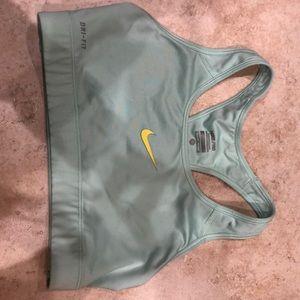 Nike Pro Dri fit sports bra medium lt blue green